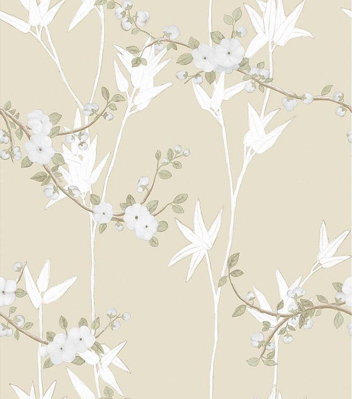 Papel De Parede Diplomata Floral Bege 1122-52