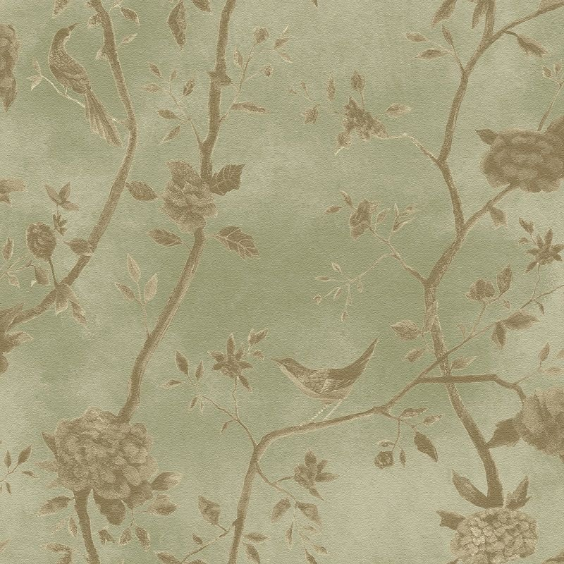 Papel De Parede Natural Floral Verde com Passaros 1444
