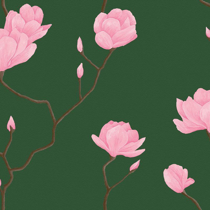 Papel De Parede Natural Floral Rosa e Fundo Verde Escuro 1448