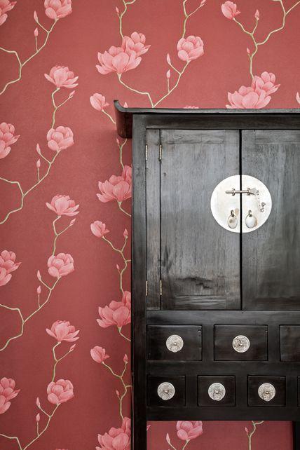 Papel De Parede Natural Floral Vermelho e Rosa 1450