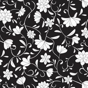 Papel De Parede Galia Vinil 46-1 Floral Preto Branco