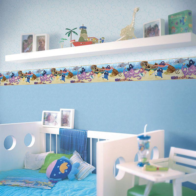 Papel de Parede Infantil azul claro linhas cuento 7812-1