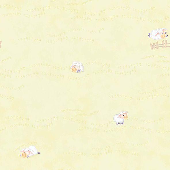 Papel de Parede amarelo Ovelhinhas cuentos 7803-2
