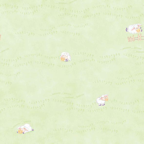 Papel de Parede Verde Ovelhinhas cuentos 7803-3