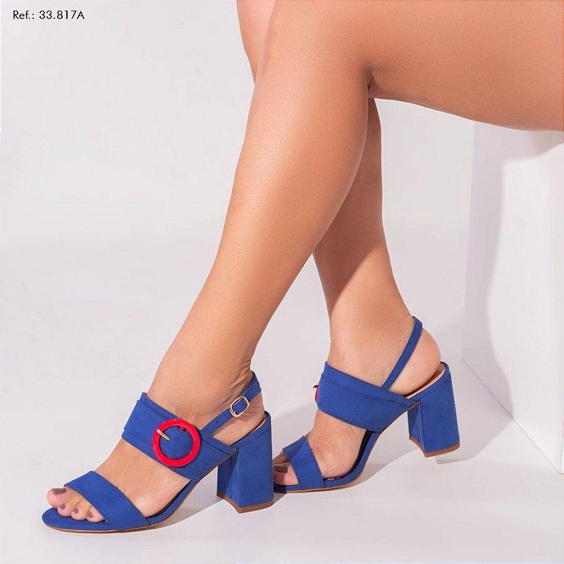 Sandália Feminina Camurça Azul