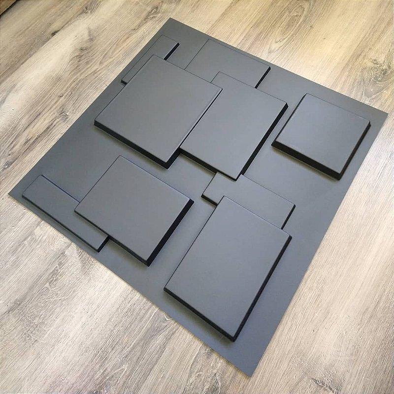 Placa  Decorativa Pvc Adesivada Dark Plaza Premium Preto Fosco 50x50cm