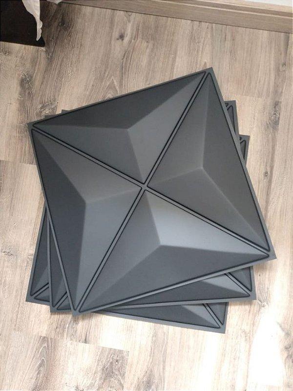 Placa  Decorativa Pvc Adesivada Dark VERSUS Premium Preto Fosco 50x50cm