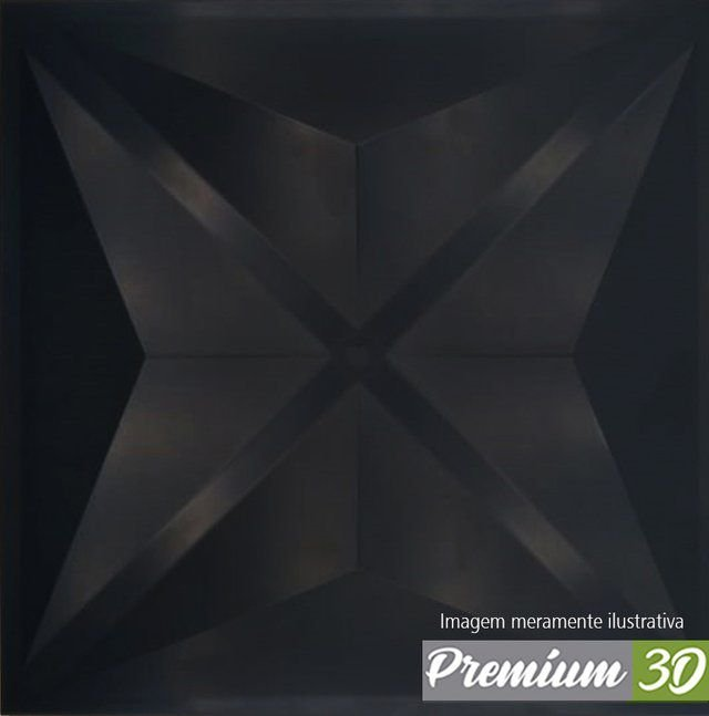 KIT C/22 PLACAS REVESTIMENTO 3D DIAMANTE PRETO  30X30cm