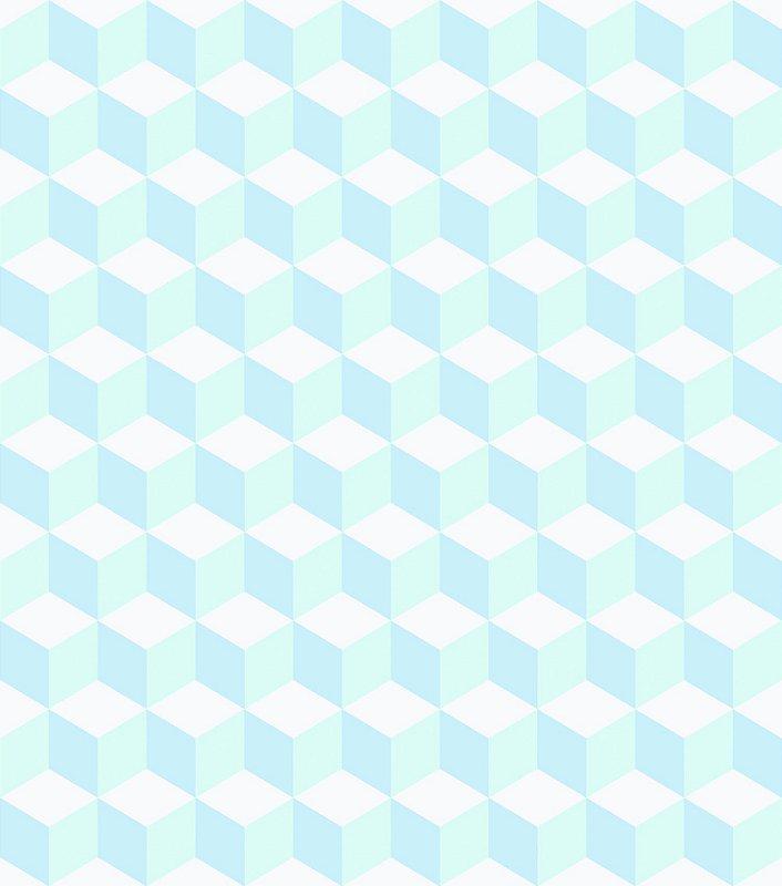 Papel de Parede Infantil Geométrico Azul e Branco - Coleção Brincar 3644