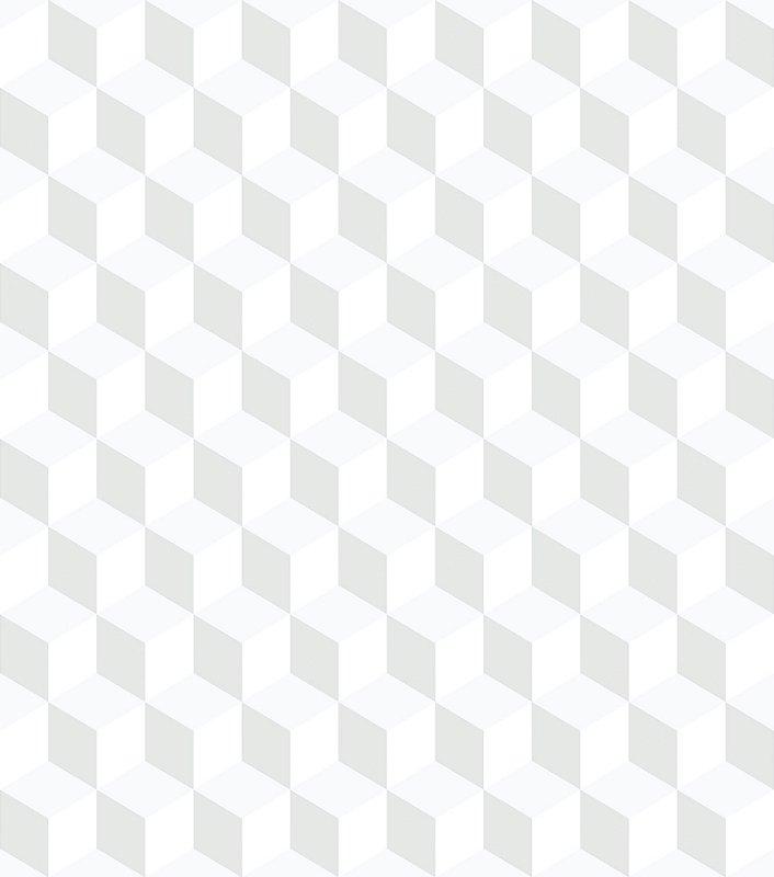 Papel de Parede Infantil Geométrico Cubos Cinza e Branco - Coleção Brincar 3645