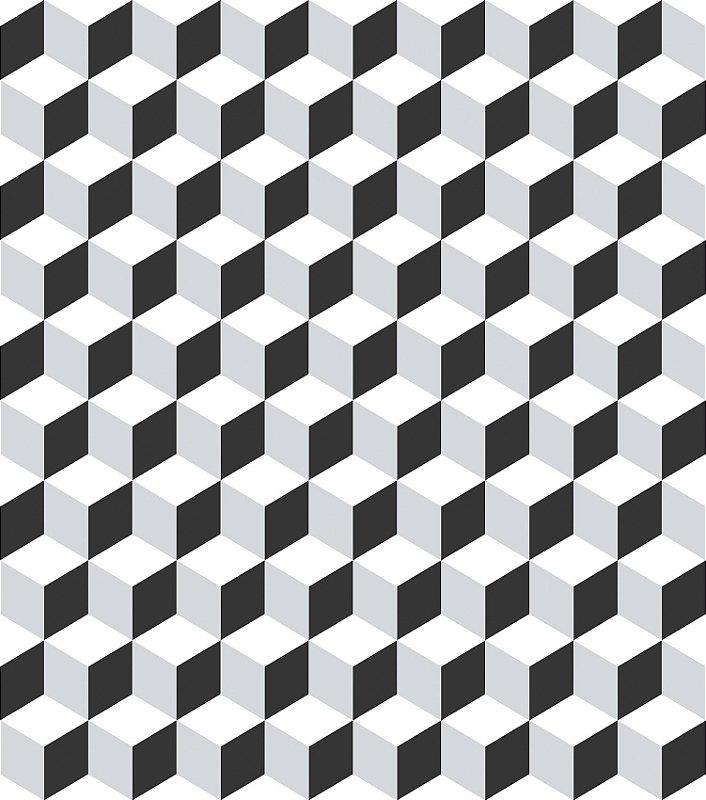 Papel de Parede Infantil Geométrico Cubos Preto e Branco - Coleção Brincar 3646
