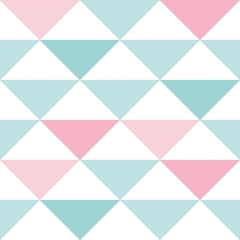 Papel de Parede Infantil Geométrico Rosa e Azul - Coleção Brincar 3600