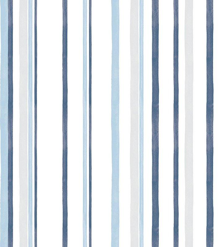 Papel de Parede Infantil Listrado Azul e Cinza - Coleção Brincar 3612