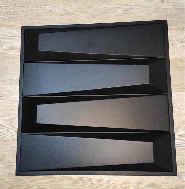 Placa  Decorativa Pvc Adesivada Dark Escaleno Premium Preto Fosco 50x50cm