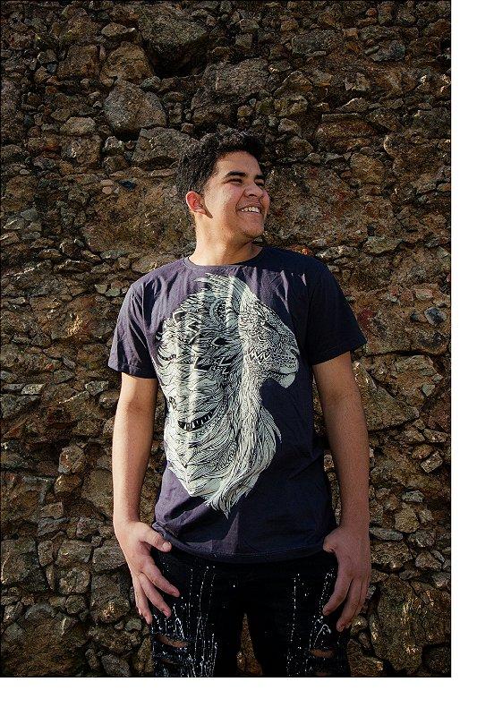 Camiseta de Algodão Malha fio 30/1 Penteado Azul Leao