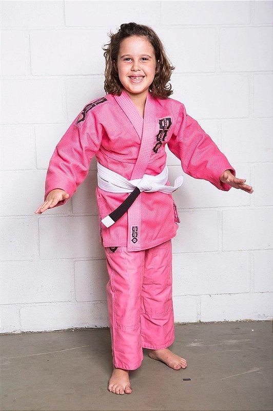 Kimono Tradicional Trançado Infantil Rosa