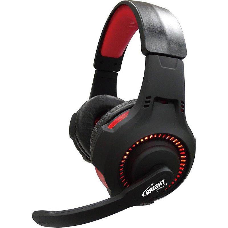 Headset Gamer Bright Led Vermelho - preto - 0467