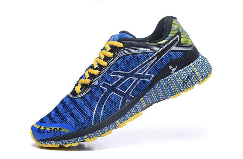 f3759a31fc2 Tênis Asics DynaFlyte - Masculino - Azul e Amarelo - Os Melhores ...