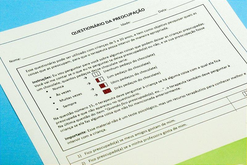 Questionário da Preocupação- kit com 10