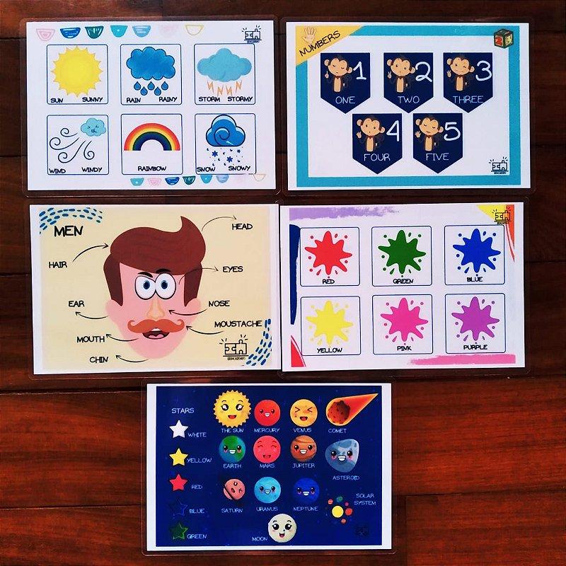 Conjunto de Flash cards em Inglês