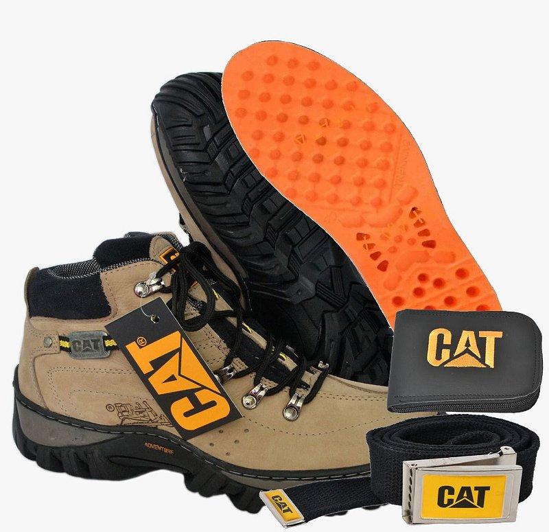 Bota Caterpílar Cano Curto Adventure Oferta Kit CAT beje
