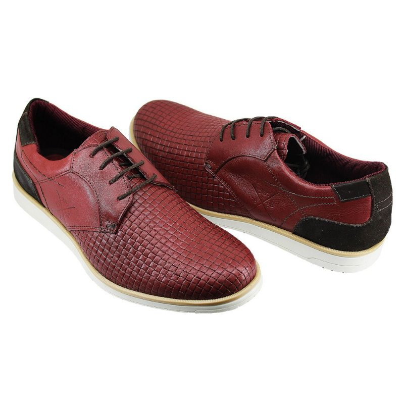 Oxford Confort Trice Bordo-Preto Couro Legitimo