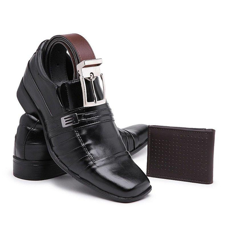 Sapato social confort nobre Fosco Preto de couro