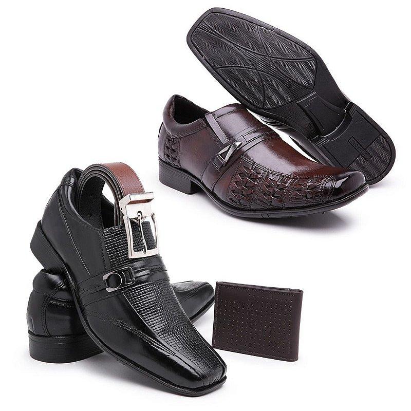 kit Sapato social couro napa confort