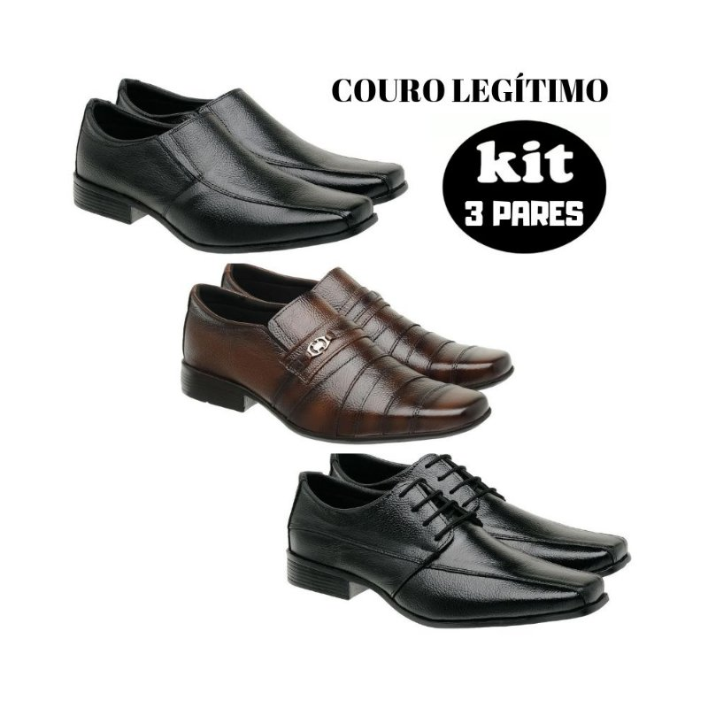 kit Sapato social couro legitimo