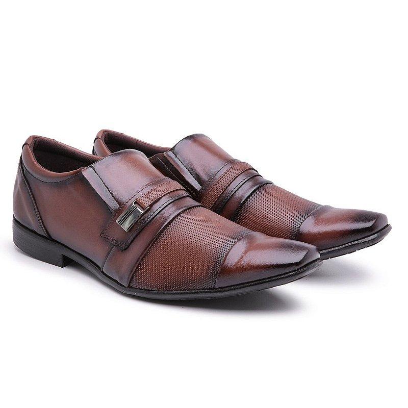 Sapato social  lazer Capuccino furadinho bico fino