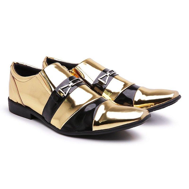 Sapato social  lazer Veniz Dourado-preto