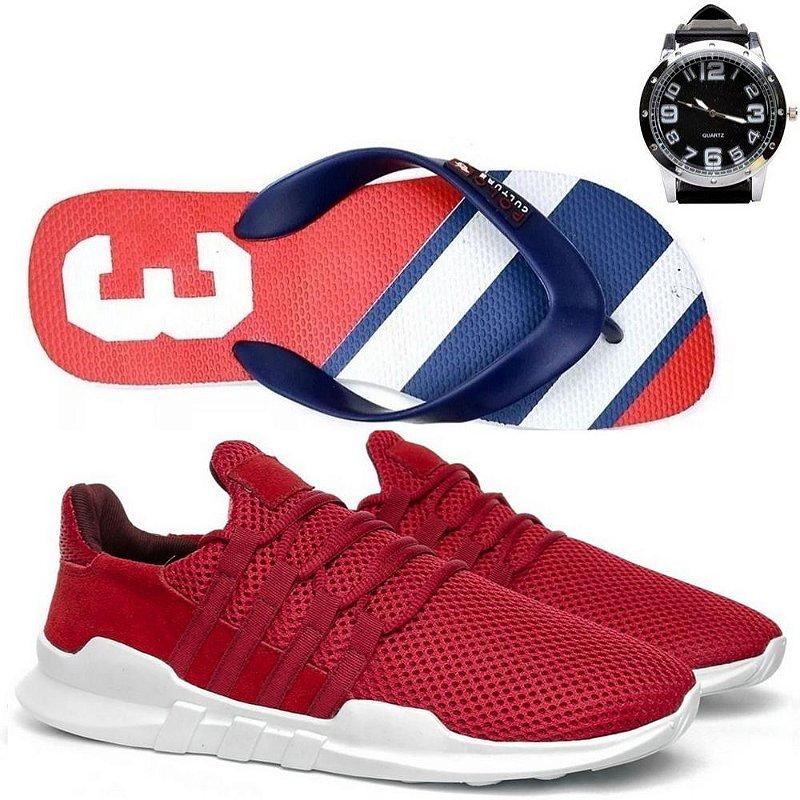 Tênis + relógio e chinelo Elegancy Paris Confort Vermelho