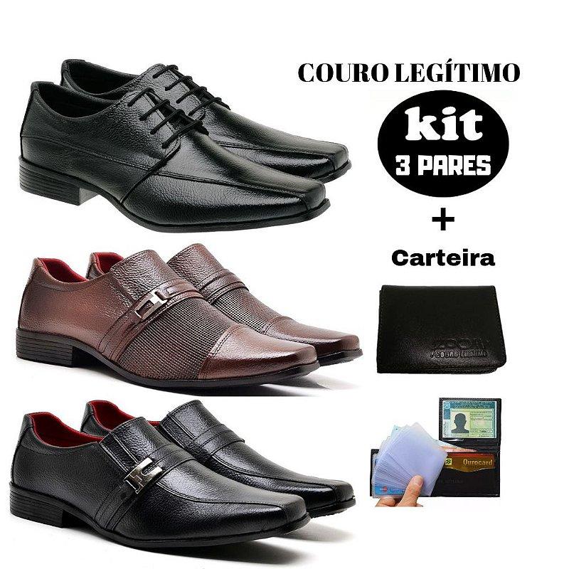 KIT Sapato social couro legitimo + carteira J-02 Promoção Black