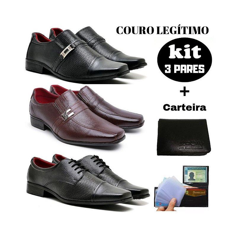 KIT Sapato social couro legitimo + carteira Promoção Black