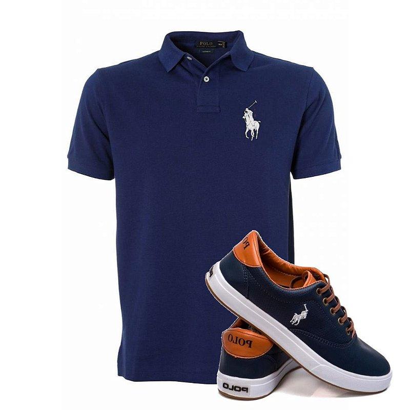 Kit Sapatenis e Camisa Polo Marinho