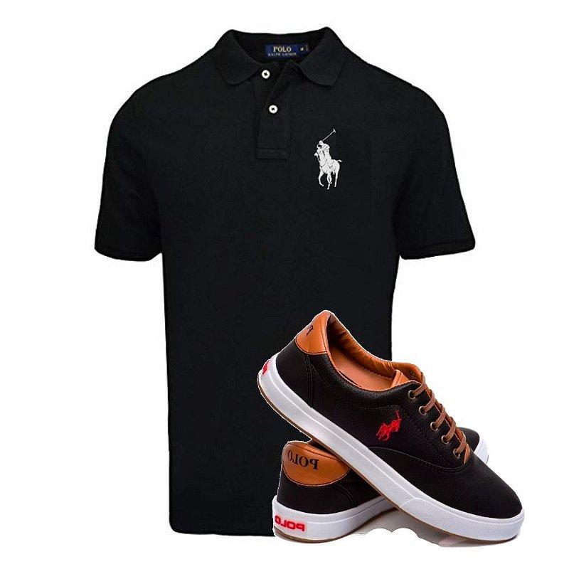 Kit Sapatenis e Camisa Polo Preta
