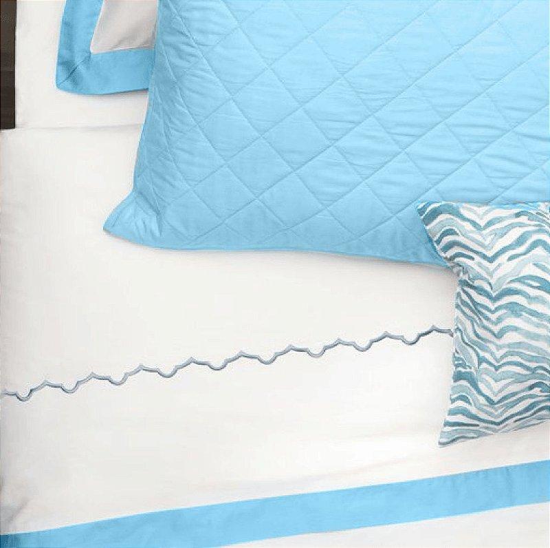 Kit: 1 Cobre-leito SOLTEIRO + 1 Porta-travesseiro - 150 fios em 100% algodāo premium - Coleçāo Classique, Azul Frances - AtHome