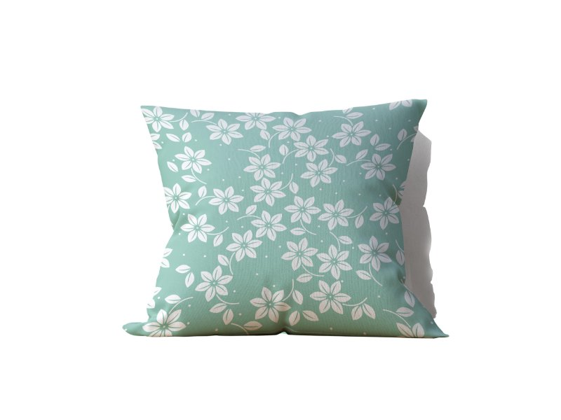 Capa de Almofada decorativa avulsa verde estampa flores brancas - 45x45cm