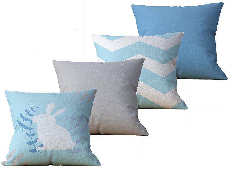 Kit  com 4 Capas de Almofada decorativa estampa Pascoa, Azul e Cinza - 45x45cm