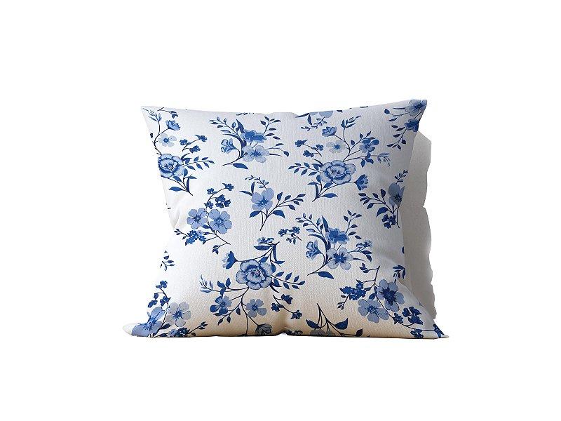 Capa de Almofada decorativa avulsa estampa Flores Branco Azul - 45x45cm