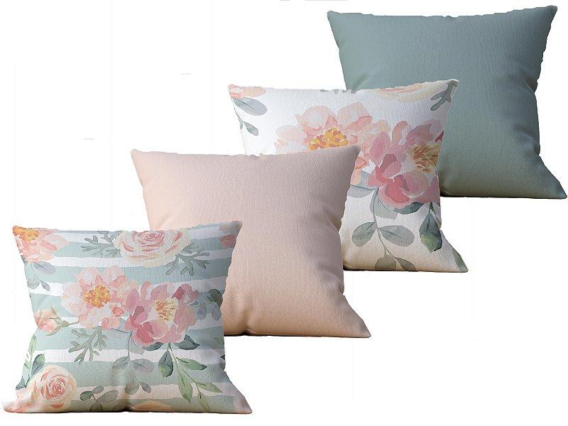 Kit com 4 Capas  de Almofada decorativa estampa Flores Rosa e Verde - 45x45cm