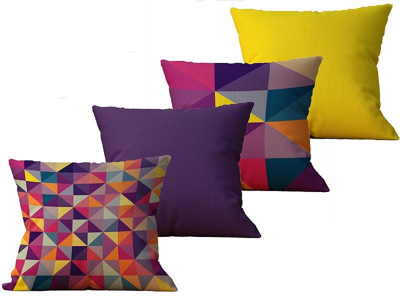 Kit com 4 Almofadas decorativas estampa Geometrica Colorida - 45x45cm