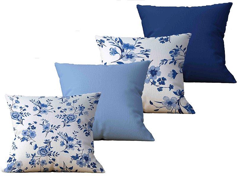 Kit com 4 Almofadas decorativas estampas Flores, Arvores Azul e Branco - 45x45cm