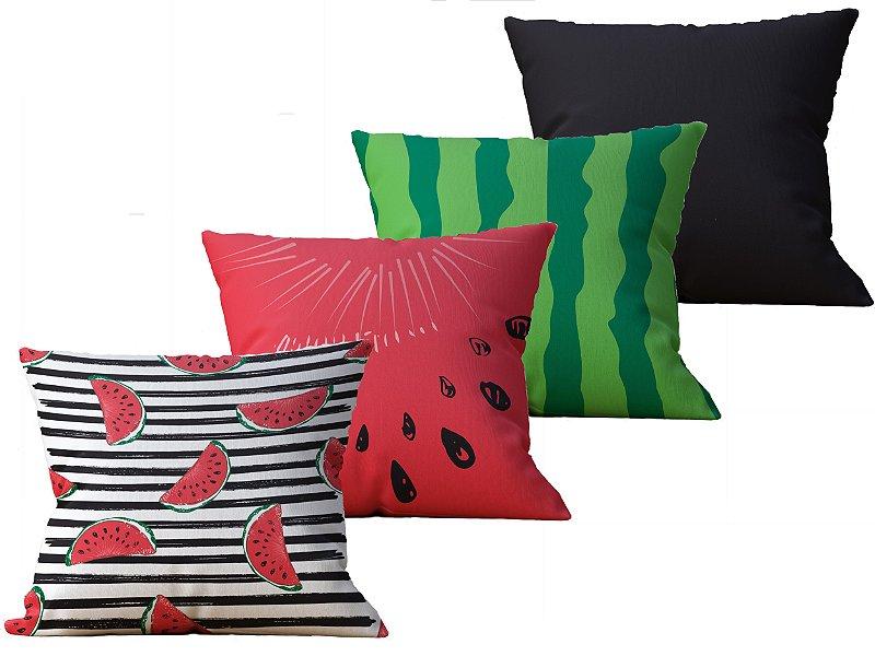 Kit com 4 Almofadas decorativas estampas Melancia e Coloridas - 45x45cm