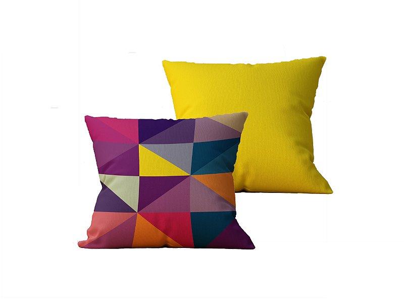 Kit com 2 Almofadas Decorativas Estampa Geometrica e Amarela - 45x45cm