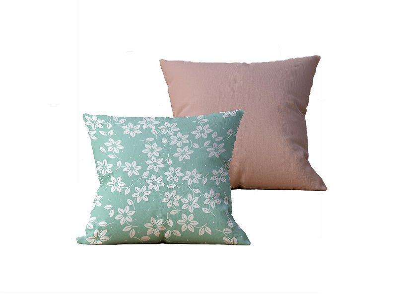Kit com 2 Almofadas Decorativas Estampa Flores Verdes e Marrom - 45x45cm
