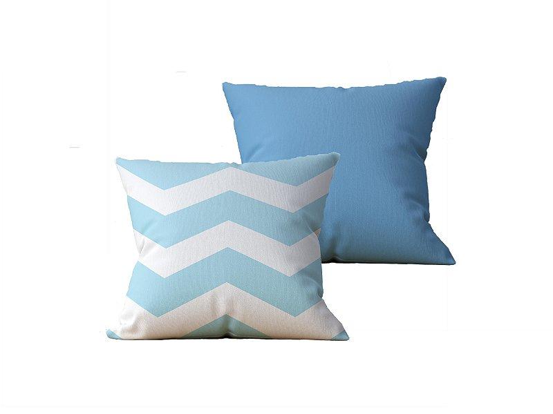 Kit com 2 Almofadas Decorativas Estampa Listras, Azul e Azul - 45x45cm