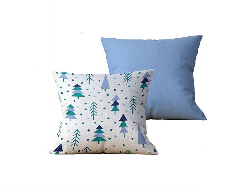 Kit com 2 Almofadas Decorativas Estampa Arvores, Branca e Azul Claro - 45x45cm