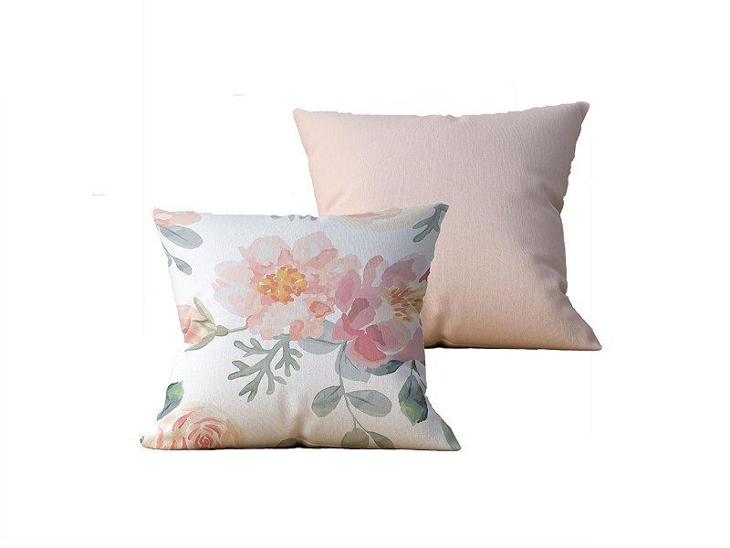 Kit com 2 Almofadas Decorativas estampas Flores, Bege e Rosa - 45x45cm