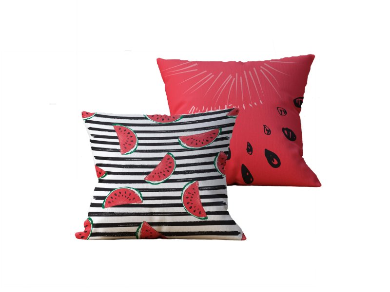 Kit com 2 Almofadas Decorativas Estampa Melancia, Vermelha e Listras - 45x45cm